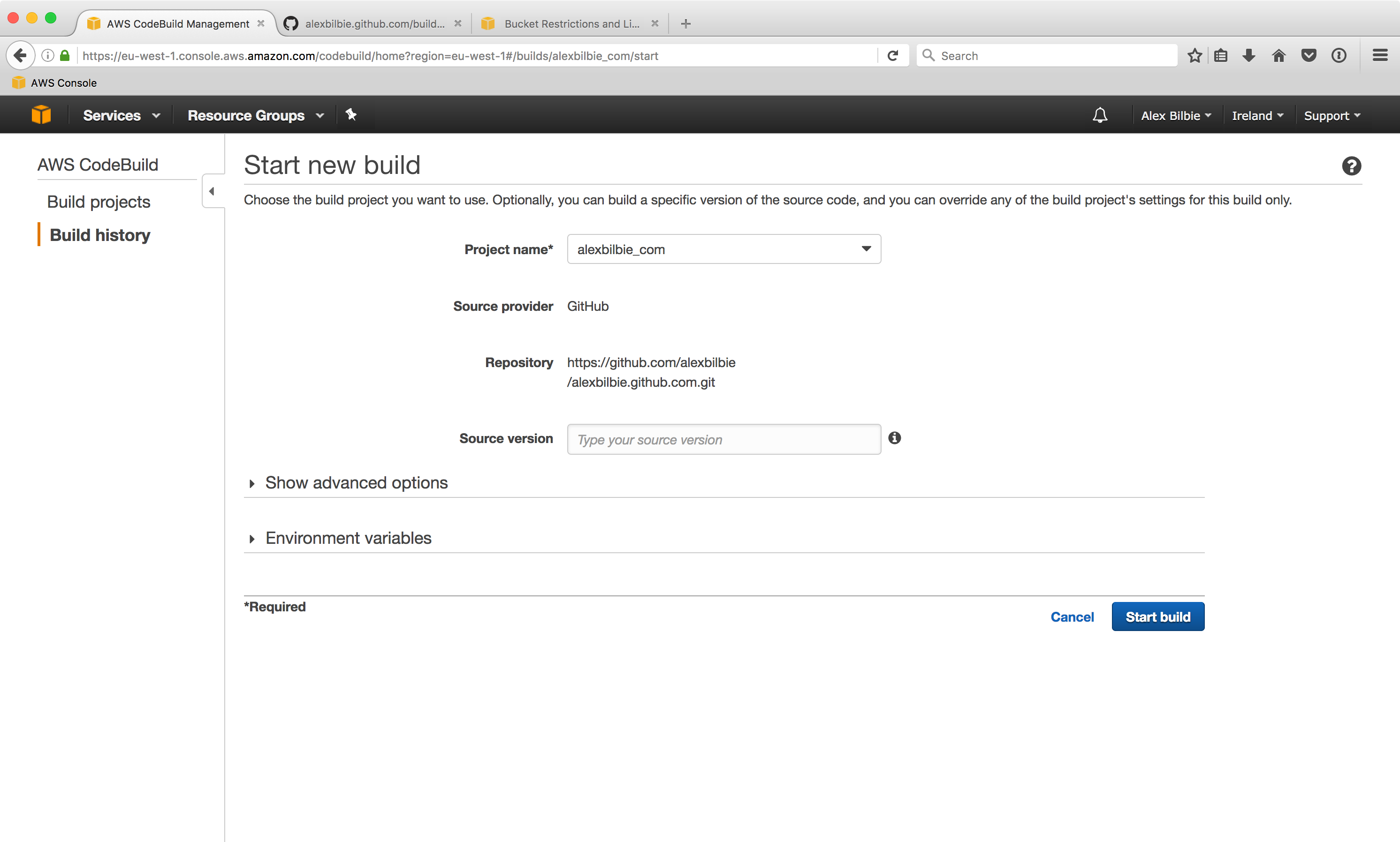 Using AWS CodePipeline and CodeBuild to update a Jekyll website